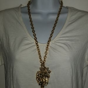 Necklace Bold Heavy Gold Tone Cluster Leaf Chunky